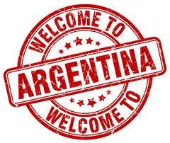Welcome to Argentina red round vintage stamp Stock Illustration
