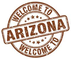 Welcome to Arizona brown round vintage stamp Stock Illustration