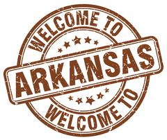 welcome to Arkansas brown round vintage stamp - stock illustration