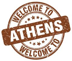 Welcome to Athens brown round vintage stamp Stock Illustration