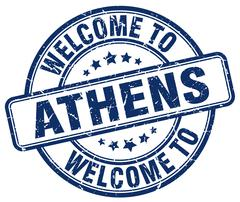 welcome to Athens blue round vintage stamp - stock illustration