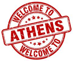 welcome to Athens red round vintage stamp - stock illustration