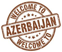 welcome to Azerbaijan brown round vintage stamp - stock illustration