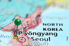 Pyongyang pinned on a map of North Korea - stock photo