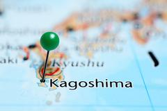Kagoshima pinned on a map of Japan - stock photo