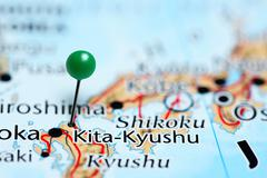 Kita-Kyushu pinned on a map of Japan - stock photo