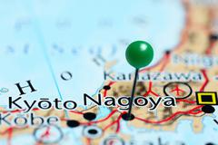 Nagoya pinned on a map of Japan - stock photo