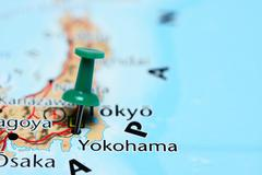 Yokohama pinned on a map of Japan - stock photo
