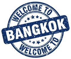 Welcome to Bangkok blue round vintage stamp Piirros
