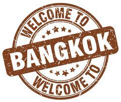 Welcome to Bangkok brown round vintage stamp Piirros