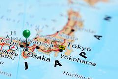 Osaka pinned on a map of Japan - stock photo