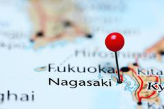 Nagasaki pinned on a map of Japan - stock photo