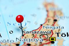 Kanazawa pinned on a map of Japan - stock photo
