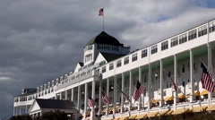 Grand Hotel Mackinac Island close with flag Stock Footage