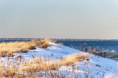 Dune overlooking Massachusetts north shore - stock photo