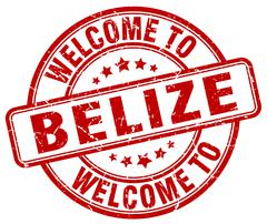 Welcome to Belize red round vintage stamp Stock Illustration
