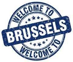 welcome to Brussels blue round vintage stamp - stock illustration