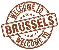 Welcome to Brussels brown round vintage stamp Stock Illustration