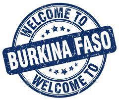 Welcome to Burkina Faso blue round vintage stamp Stock Illustration
