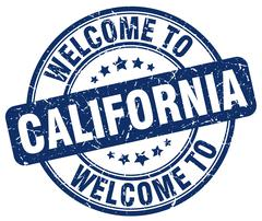 Welcome to California blue round vintage stamp Stock Illustration