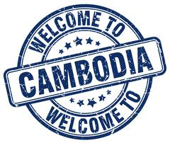 Welcome to Cambodia blue round vintage stamp Stock Illustration