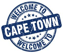 welcome to Cape Town blue round vintage stamp - stock illustration