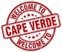 welcome to Cape Verde red round vintage stamp - stock illustration