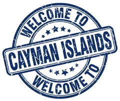 Welcome to Cayman Islands blue round vintage stamp Stock Illustration