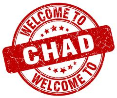 Welcome to Chad red round vintage stamp Stock Illustration