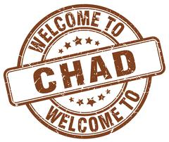welcome to Chad brown round vintage stamp - stock illustration
