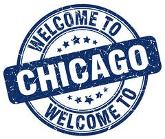 Welcome to Chicago blue round vintage stamp Piirros