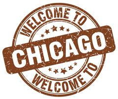 Welcome to Chicago brown round vintage stamp Stock Illustration