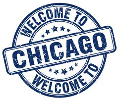 Welcome to Chicago blue round vintage stamp Stock Illustration