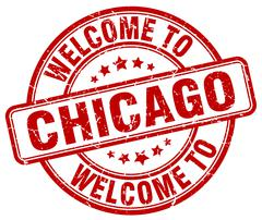 Welcome to Chicago red round vintage stamp Stock Illustration