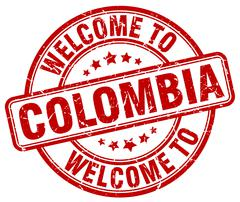 welcome to Colombia red round vintage stamp - stock illustration