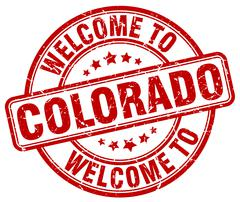 Welcome to Colorado red round vintage stamp Stock Illustration