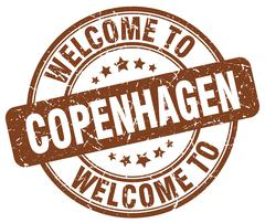 welcome to Copenhagen brown round vintage stamp - stock illustration