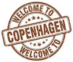 Welcome to Copenhagen brown round vintage stamp Stock Illustration