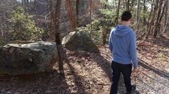Hiker walking along the trail - stock footage