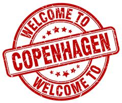 Welcome to Copenhagen red round vintage stamp Stock Illustration