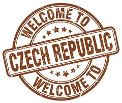 Welcome to Czech Republic brown round vintage stamp Stock Illustration