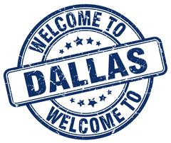 Welcome to Dallas blue round vintage stamp Stock Illustration