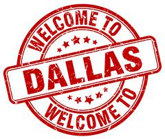 Welcome to Dallas red round vintage stamp Stock Illustration