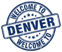 Welcome to Denver blue round vintage stamp Piirros