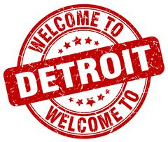 Welcome to Detroit red round vintage stamp Piirros