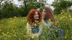 Girlfriends gossiping. Slow motion Stock Footage