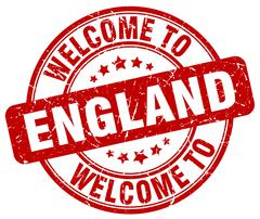Welcome to England red round vintage stamp Stock Illustration