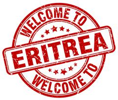 welcome to Eritrea red round vintage stamp - stock illustration
