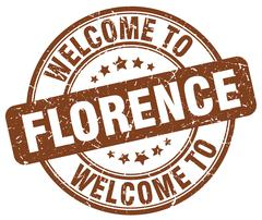Welcome to Florence brown round vintage stamp Stock Illustration