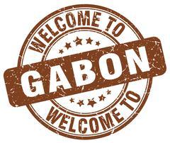welcome to Gabon brown round vintage stamp - stock illustration